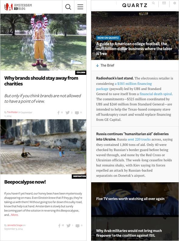 Amsterdam Ad Blog und Quartz mit neuer Gestaltung (mobile Ansicht)