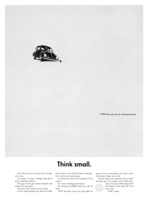 "Auch Amir Kassei's Replika der berühmten ""<a href=""https://adsoftheworld.com/media/print/volkswagen_think_small?size=original"" target=""_blank"">Think Small</a>"" VW Druckanzeige steht hinter dem Original zurück."