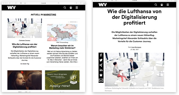 W&V Neugestaltung