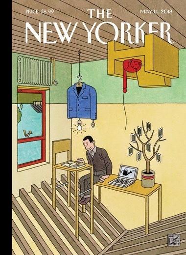 Das Titelbild für des New Yorker Magazin's Innovations Ausgabe ist vom holländischen Multitalent Joost Swarte und entspricht Hergé's ligne claire.