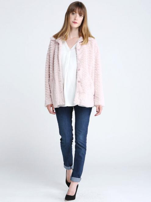Manteau en fausse fourrure rose toute douce Pink Martini