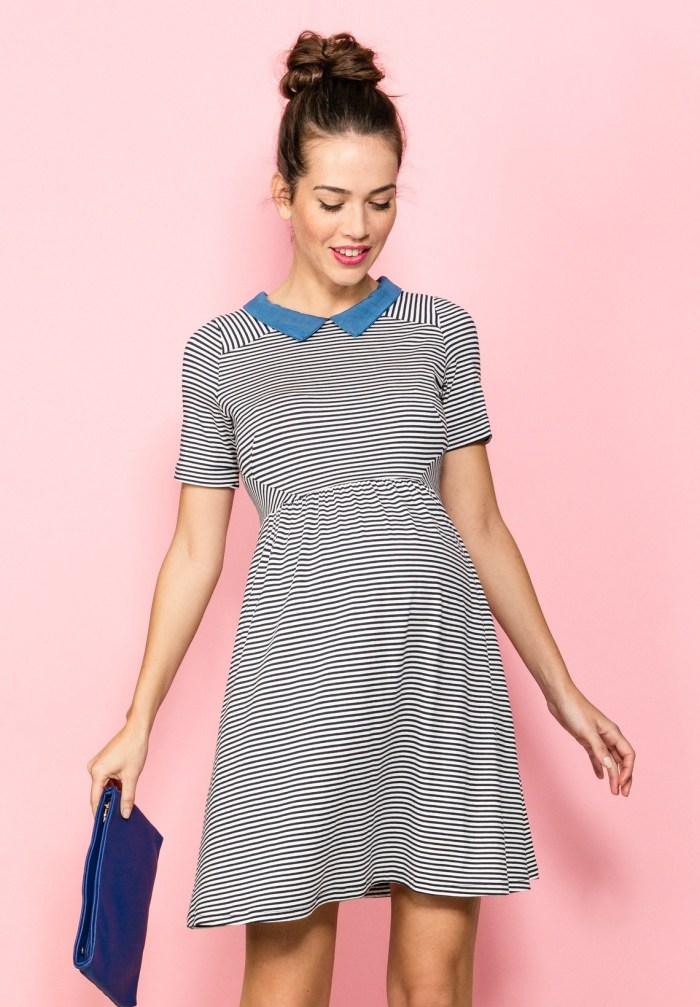 robe rayures et col bleu