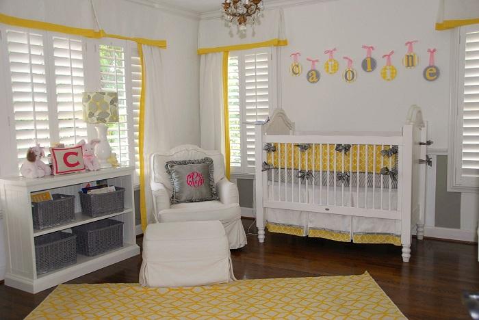 chambre bebe jaune soleil et grise