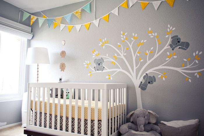 7 inspirations de chambres de bébé pétillantes en jaune et gris ...