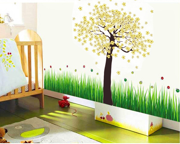 sticker arbre fleurs jaune chambre bebe
