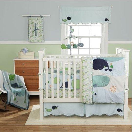 décorer la chambre de bébé-sous l'océan-neuf mois-vert et bleu