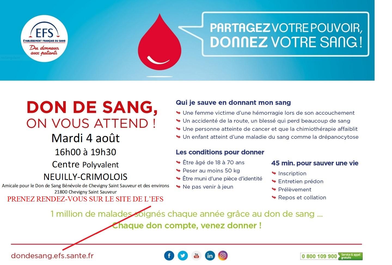 Don de sang à Neuilly-Crimolois le 4 août prochain.