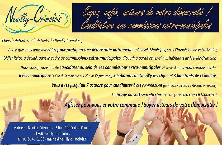 Soyez, enfin, acteurs de votre démocratie ! Candidatez à l'une des six commissions extra-municipales.