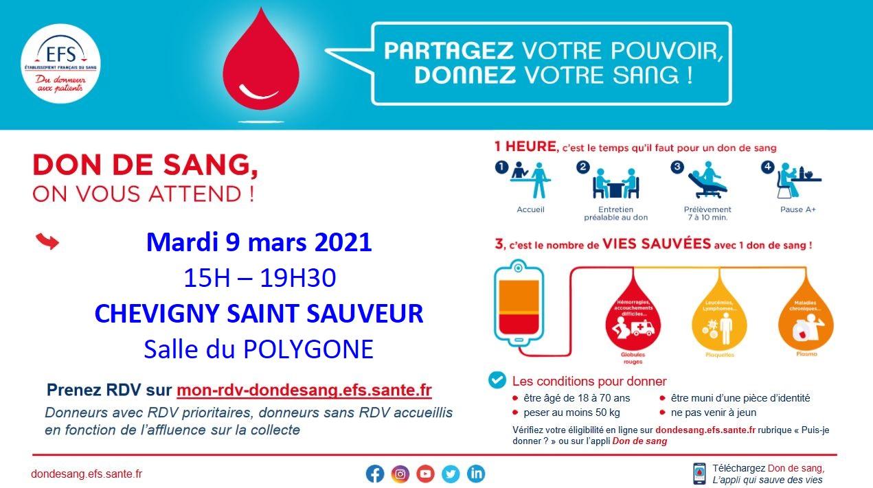 Collecte de sang le mardi 9 mars Salle du polygone à Chevigny-St Sauveur