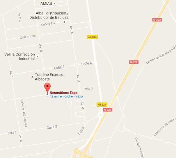 Mapa Neumáticos Zapa Albacete