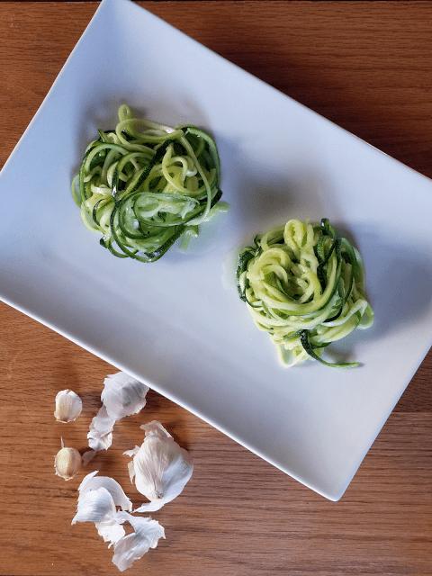 Zucchini Pasta Raw with Garlic Salt and With Garlic Butter, Paleo Primal, Grain-Free, Gluten-Free, Vegan, Raw