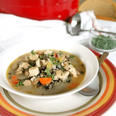 This chicken and wild rice soup is so delicious, but it'll also help to sooth and heal! Made with bone broth, chicken, wild rice, garlic, onions, carrots and celery, this soup is gluten-free, dairy-free and egg-free. A speedy recovery never tasted better!