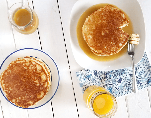 Make your next pancake breakfast more nutritious, allergy-friendly and lower in sugar with these gluten-free and vegan Pancakes with Cinnabun Sauce!