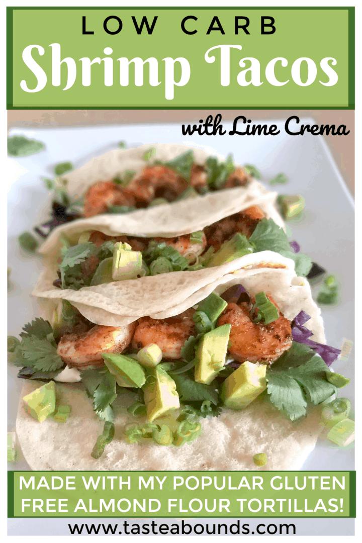 Low Carb Shrimp Tacos with Lime Crema