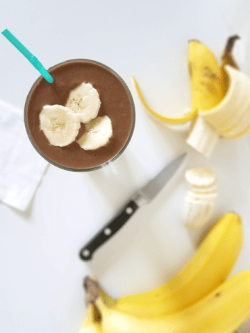This Chocolate Peanut Butter Banana Smoothie is so yummy and nutritious! It can be tailored to a vegan or even paleo diet, and with the coffee it's all you need in the morning.