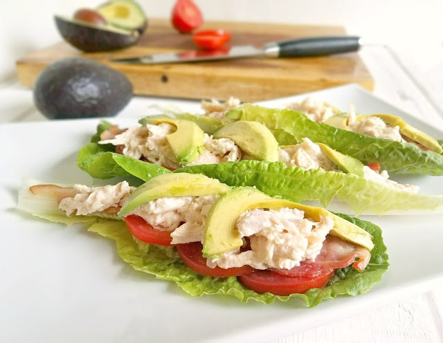 These BLTA Chicken Lettuce Wraps combine all of the flavors of a mouth-watering BLT but without the bread, for those who can't or don't eat bread! Not only are these super easy to prepare, they're gluten-free, grain-free, dairy-free, egg-free, Paleo / Primal, low-carb and keto.