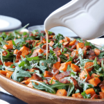 Roasted Sweet Potato & Arugula Salad with Maple Bacon Vinaigrette
