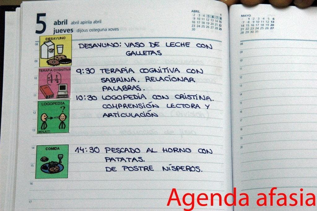 Ejemplo de una agenda de un paciente con afasia
