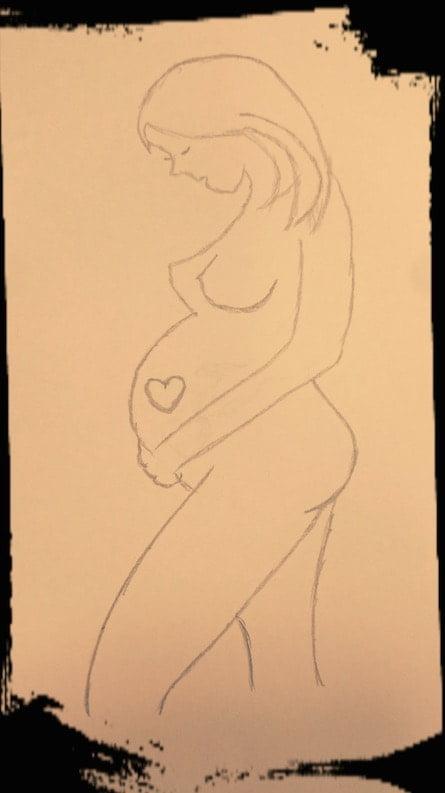 Nuestro paciente Óscar ha realizado este dibujo para ilustrar el símil del embarazo con su rehabilitación en Nisa Vinalopó