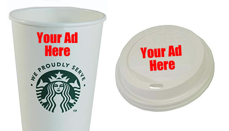 starbucks cup and lid with ad placement for caffeine memory boost