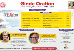 LIVE NOW LIVE NOW…………….June 5, 5 pm IST, Ginde Oration of the Bombay Hospital Trust presents two Orations on theme of C Spine, with CME