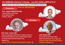 """RECORDED LIVE, July 10, 2021,  """"Existing and promising new therapies for Alzheimer's disease"""", from Marrakesh, Morocco"""
