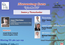 Recorded LIVE,  July 2021…………WSCS/WFNS Neuroanatomy Course: Spine Module Session III: Thoracolumbar