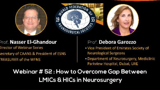 """Friday, October 29, 2021, 2 to 5 pm Egypt time,  WFNS presents, """"How to Overcome the Gap between LMICs and HICs in Neurosurgery"""""""