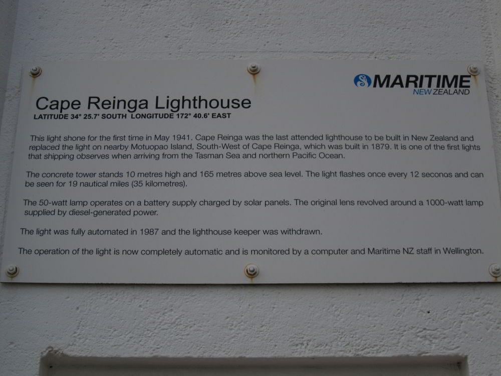 Infotafel zum Cape Reinga Leuchtturm
