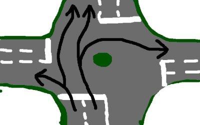 mögliche Fahrspuren bei einem mehrspurigen Kreisverkehr