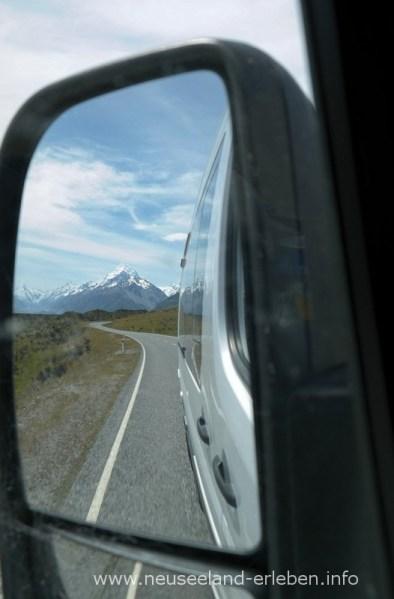Mount Cook im Rückspiegel