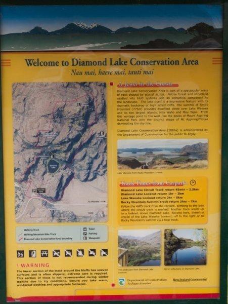 Schild mit Wegbeschreibung zum Diamaond Lake und zum Rocky Mountain
