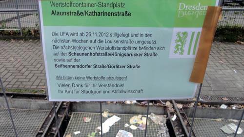 Hier ist er schon weg, der Container, von der Verwaltung auch UFA genannt.