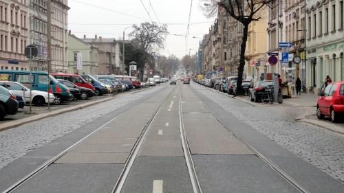 Die Königsbrücker frei von Straßenbahnen - Foto: Archiv