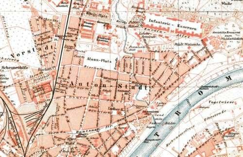 Ausschnitt aus der Dresden-Karte von 1895