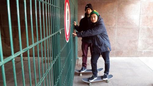 Der Skateboarder-Winterspot ist abgeriegelt.