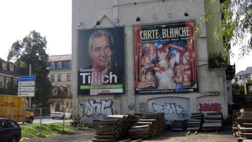 Wurde Opfer einer Farbbeutel-Aktion: Wahlwerbeplakat von Stanislaw Tillich