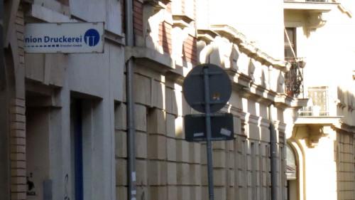 Das Schild ist noch da - die Union Druckerei ist umgezogen.