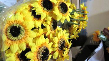 Jede Menge Deko-Blumen sind schon da.