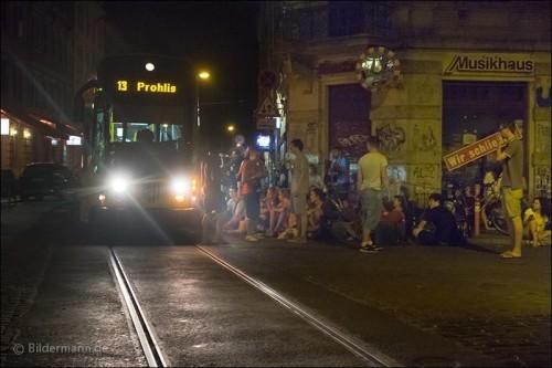 Straßenbahnstreichler an der sozialen Ecke. Foto: Archiv/Bildermann