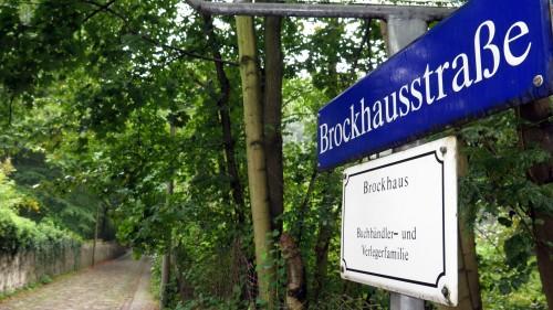 Die Brockhausstraße führt von der Bautzner Straße an der Saloppe vorbei hinunter an die Elbe zum Körnerweg