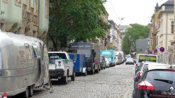Wohnwagen-Schlange auf der Katharinenstraße.