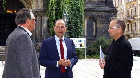 Kirchspiel-Vorsteher Christoph Hahn, Innenminister Markus Ulbig, Pfarrer Eckehard Möller