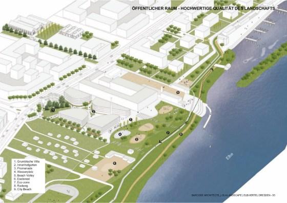 """Der Siegerentwurf im Werkstattverfahren """"Elbviertel am Puschkinplatz"""" stammt von Barcode Architetcs/Lola Landscape Architects aus Rotterdam. Quelle: Barcode"""