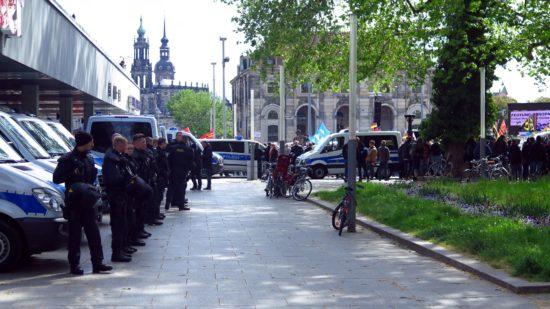 Reichlich Polizei sicherte die Veranstaltungen ab.