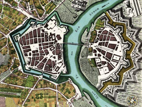 Stadtplan von Dresden, angefertigt von Matthäus Seutter. (Kolorierter Kupferstich aus dem Jahre 1750 - Quelle: Wikipedia
