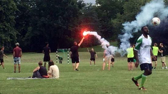 Pyrotechnik beim Alaunpokal 2016