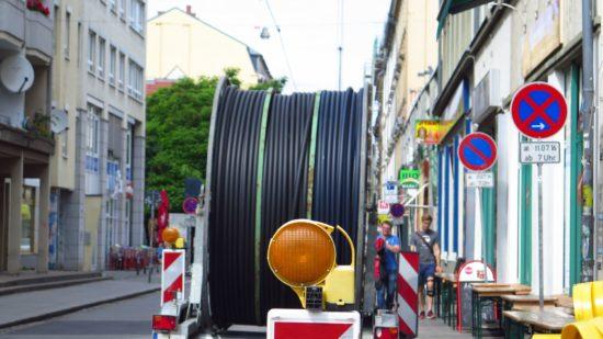 Kabelrolle auf der Alaunstraße