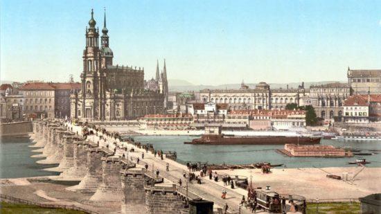Augustusbrücke um 1900