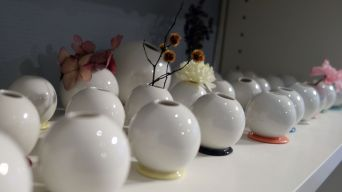 Auch Vasen in fast allen Größen zählen zum Sortiment.